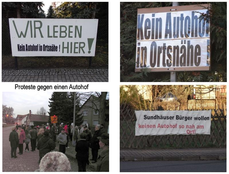 Proteste gegen den geplanten Autohof